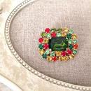 bijou brooch ④  green x multi