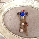 bijou brooch ⑥  blue x multi chain
