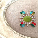 bijou brooch ④  green x clear x multi