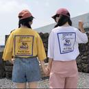 【お取り寄せ商品】letter printing loose casual T-shirt Short Sleeves yellow tshirt big size Tops Tee