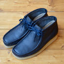 CLARKS WALLABEE BOOT - NAVY LEATHER