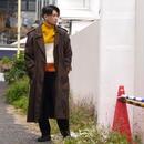 Shiny paisley trench coat