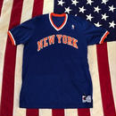 【USED】CHAMPION NY KNICKS jersey ブルー×オレンジ XL