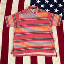 【USED】POLO RALPH LAUREN STRIPE PILE polo shirt マルチ LL