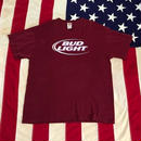 【USED】BUD LIGHT tee バーガンディ XL
