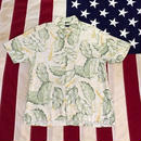【USED】NAUTICA ALOHA shirt ホワイト×グリーン M