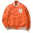 【ラス1】Majestic NY YANKEES satin jacket オレンジ XXL