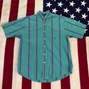 【USED】NAUTICA STRIPED S/S shirt エメラルド×パープル M