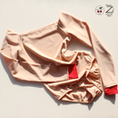 "[Zi dancewear] 4 Sleeves leotard ""Nude with Red cuffs"""