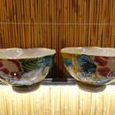 美山窯色夫婦碗(山茶花緑)
