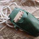 緑の牛革の4丁差しのシザーケース No.001