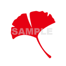 【POP素材】イチョウイラスト(赤色)