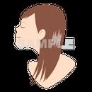【POP素材】女性イラスト(横顔・ストレートロングヘア)