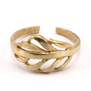 Raw Brass Adjustable Ring / Feather No,2