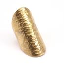 Raw Brass Adjustable Ring / Hammered Big Round
