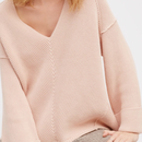 Over Size V neck Sweater / Peach