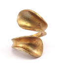 Raw Brass Adjustable Ring / 3D Curl