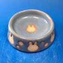 【R033】うさぎ水玉模様のうさぎ様用食器・Sサイズ(スカイブルー・うさぎ印)