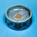【R028】うさぎ水玉模様のうさぎ様用食器・Sサイズ(淡青赤土・うさぎ印)