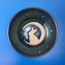【G005】月夜のうさぎ柄のご飯茶碗(銀彩釉・手描き)