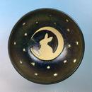 【G055】月夜のうさぎ柄のご飯茶碗ミニ(銀彩釉・手描き)