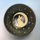 【G058】月夜のうさぎ柄のご飯茶碗(銀彩釉・手描き)