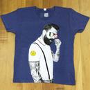 RARETE (ラルテ)  髭 イタリア グラサン Vネック  Tシャツ  ネイビー  星柄 star