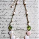 天然石ピンクオパールとゼブラビーズのネックレス