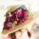 *ラスト2*BONNE flower ribbon麦わら帽子 ネイビー《51㎝》
