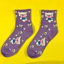 クマ 紫 靴下 ソックス BEAR PURPLE SOCKS