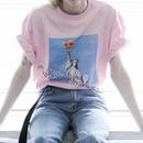 自由の女神 ピザ ピンク Tシャツ