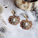 Vintage copperbrass and Swarovski earring