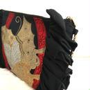 正絹帯ショルダーバッグ クラッチバッグ 2way 高級着物帯リメイク 黒 赤 金蝶文様