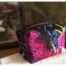 京都産正絹 キャラメルポーチ 花の宝石箱