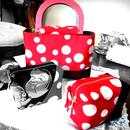 京都産正絹 帯の水玉ミニバッグとキャラメルポーチのセット