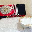 京都産正絹 帯のクラッチバッグ 豪華赤黒金銀華丸亀甲文様 Aタイプ