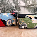 京都産正絹 キャラメルポーチ2個セット 現代柄クラッシックカー