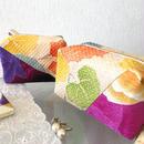 京都産正絹絞り キャラメルポーチ2個セット 葵柄