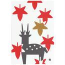 はがき 紅葉に鹿