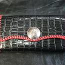 クロコダイル型押し 牛革 長財布