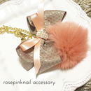 antique pink fur ribbon charm
