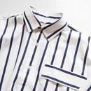 "UNUSED ""US1485 Stripe Shirt. "" White×Navy unisex"