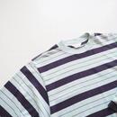 """UNUSED """"US1513 Long Sleeve Border T-shirt. """" Blue Green × Dark Purple unisex"""