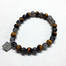 NATURAL STONE BEAD BRACELET (TIGER EYE / DRAGON AGATE)
