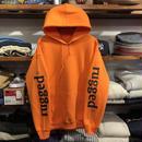 """【ラス1】RUGGED """"rugged®"""" sleeve logo light sweat hoodie (8.0oz/Light Orange)"""