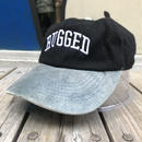 """【ラス1】RUGGED on vintage  """"ARCH LOGO"""" adjuster cap (Black/Light Blue)"""