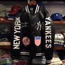"""【ラス1】Majestic """"NEW YORK YANKEES"""" team logo studium jacket(Black)"""