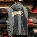 RUGGED® on vintage ''ARCH LOGO'' hoodie denim jacket(③)