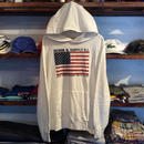 DENIM & SUPPLY cotton french terry flag hoody(White)