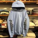 """【ラス1】RUGGED """"rugged®"""" sleeve logo light sweat hoodie (8.0oz/Light Blue)"""